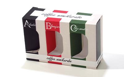 コーヒーの飲み比べセットのパッケージ
